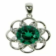 Emerald and Cubic Zirconia Silver Circular Pendant with Curb Chain ZDSP1918