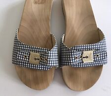 Dr Scholl's J Crew Sandals 10 Gingham Check Wood Slip On Womens Shoes