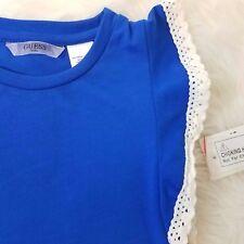 Guess Kids Girls Top Laced Flutter Sleeve Designer Sz 4 Small Blue A1