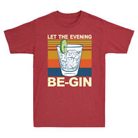 Martini Cocktail Let The Evening Be Gin Funny Men's Cotton Short Sleeve T-Shirt