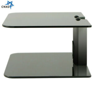 Dual 2 Tier Glass Shelf Wall Mount Under TV Cable BOX Component DVR DVD Bracket