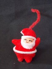 Vintage Flocked Small Santa Claus  Christmas Ornament