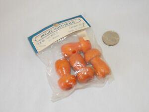 Vintage Wood Mushroom Shaped Beads Orange 4 in Package 25 x 40mm Macrame Crafts