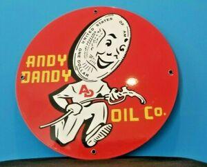 VINTAGE ANDY DANDY OIL COMPANY DOLLAR GUY PORCELAIN METAL GASOLINE SIGN