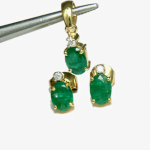 Real Emerald Stone 14K Yellow Gold Stud Earrings & Pendant Wedding Jewelry Set