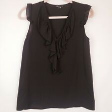 Theory Women's Sz P  Small Karady Black 100% Silk Ruffle Mesh Sheer Blouse