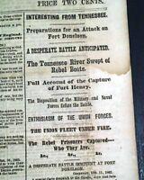 BATTLE OF ROANOKE ISLAND North Carolina & Fort Henry 1862 Civil War Newspaper