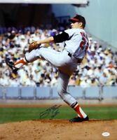 Jim Palmer Autographed *Blue 16x20 Orioles Pitching Photo W/ HOF- JSA W Auth