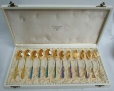 SUPERB MARTHINSEN NORWAY STERLING SILVER GOLD GILT ENAMEL DEMITASSE SPOONS SET
