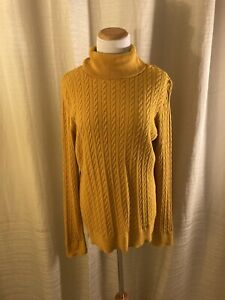 Talbots Women's Cotton Mustard Yellow Cable Knit Turtleneck Large L