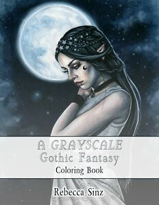 Gothic Fantasy Art Adult Grayscale Coloring Book Vampires Angels Mermaids Witch