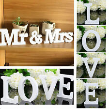 ''Mr & Mrs'' ''LOVE''White Wooden Letters Wedding Home Party Table Sign Decor