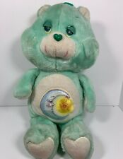 Original 1983 Blue Green Care Bear With Half Moon And Star 16� Large Plush