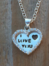 """18"""" Pendant Women Valentines Gift New 925 Sterling Silver Cz Heart Love Necklace"""