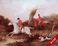 HUNTSMAN FOX HUNT HORSE FOXHUNTING HUNTING ART PAINTING REAL CANVAS PRINT