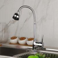 Kitchen One Hole Chrome Faucet Swivel Basin Sink Tap Deck Mounted Spout Mixer