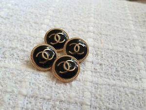 Set Of 4 Chanel Vintage Stamped Black/Gold Buttons 20mm