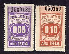Argentina Revenue Provincia de Santa Fe 1914 Hinged/Never Hinged 2 Different L7