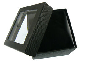 12 NEW Wholesale Black Watch / Bracelet Window Gift Boxes with Velvet Cushion