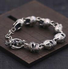 Solid 925 Sterling Silver T-Bar Skull Heads Biker Bracelet Chain 21cm *UK STOCK*