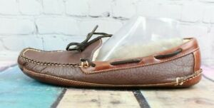 LL BEAN Men's Brown Bison Double Sole Shearling Lined Slip-on Slippers Size 11 D