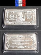 Lingot plaqué ARGENT - Billet de 1000 $ One Thousand Dollars Banknote