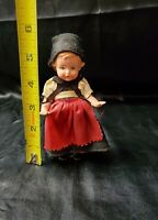 Antique celluloid GERMAN costumed DOLL blue eyes chubby legs DETAIL