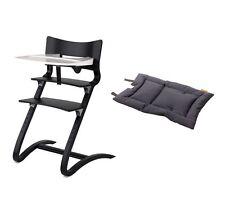 Leander Stuhl schwarz lackiert + Bügel + Tablett weiß + Kissen dark grey ! NEU !