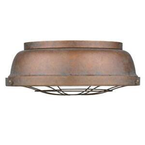 2 Light Flush Mount - Copper Patina Finish Golden Lighting Bartlett