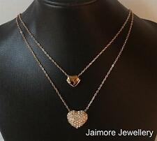 pendant necklace 18k rose gold gp sparkling Austrian crystals & double hearts