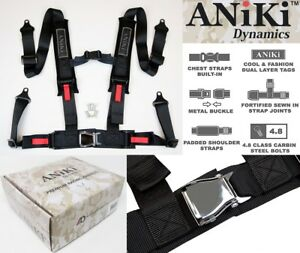 ANIKI BLACK 4 POINT AIRCRAFT BUCKLE SEAT BELT HARNESS w/ ULTRA SHOULDER PAD NEW