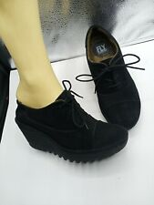 Fly London 37 Booties Yama Black Suede Lace Up Wedge Shoes 37