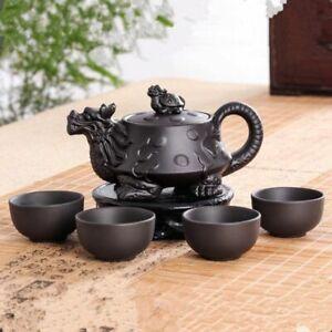 Yixing Chinese Teapot Set Vintage Ceramic Kung Fu Tea Cup Tray Set Zisha Dragon