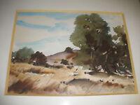 American artist Arthur Haddock Santa Fe California landscape watercolor Signed