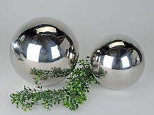 Moderne Deko Kugel silber aus Edelstahl Durchmesser 25 cm