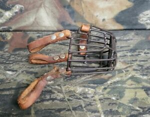 Vtg Metal Leather Wire Basket Muzzle For Small Dog Chihuahua Jack Russel... DI