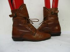 Vintage Joan David Italy Brown Leather Lace Buckle Granny Ankle Boots Size 5