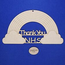 MDF Thank You NHS Rainbow With Detailing Style 2 Laser Cut Extra Large 31x17cm