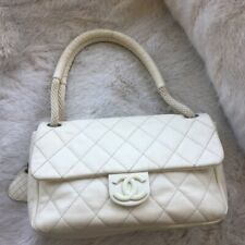 Chanel flap quilt bag white ivory CC rope strap