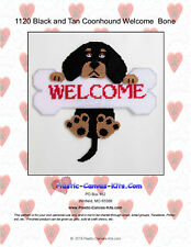Black and Tan Coonhound Dog and Bone Welcome Sign- Plastic Canvas Pattern or Kit