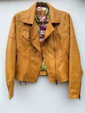 Joe Browns All New Leather Jacket Mustard Size 10 rrp £170.49