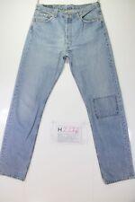 Levis 501 Denim Patch (Cod. H2276) Tg48 W34 L34 jeans usato Vita Alta Vintage