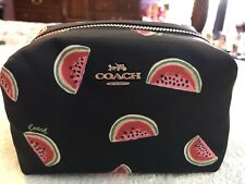 Coach SV/Navy/Red Multi Watermelon Nylon Small Boxy Cosmetic Case 2019 NWT