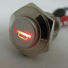 16mm 12V LED Momentary Push Button Metal Switch Car Boat Speaker Bell Horn Sales