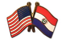 Paraguay Friendship with US Flag Lapel Badge Pin