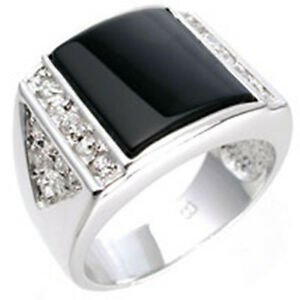 13X13 mm Semi-Precious Black Onyx Clear CZ Stone Rhodium Men Ring Size 12
