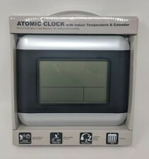 Atomic Clock with Indoor Temperature and Calendar DST Snooze Alarm Silver New