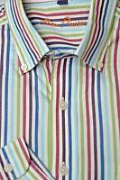 Alan Flusser Men's White Colorful Stripe Cotton Casual Shirt L Large