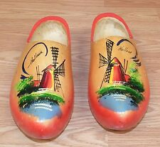 Wooden Adult Sized Holland Dutch Style Clogs w/ Sunburst Color & Windmill Theme