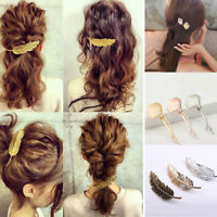 Womens Bulk Leaf Feather Hairpin Hair Clips Snap Barrettes Bobby Pins Hair DIY